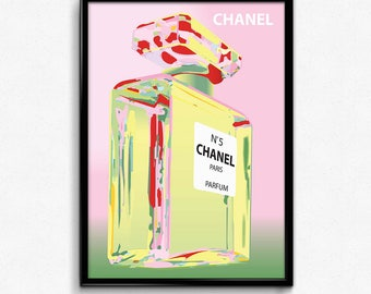 Chanel bottle pink canvas art print poster