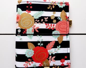 CUSTOM Fabric Traveler's Notebook. Fabric Dori. Fauxdori Cover. Planner Cover. Secretarial Pocket. Fabric Journal Cover. Bold Floral Stripes