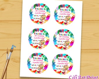 Art Party Favor Tag, Art Party Thank You Tags, Digital File