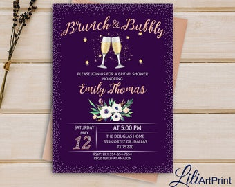 Brunch and Bubbly Bridal Shower Invitation, Floral Brunch and Bubbly, Digital file, B01
