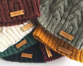 Handknit Merino Cable Hat - Cognac Heather