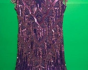 Laurence Kazar flapper gatzby PURPLE RAIN dress size PM vintage beaded party dress
