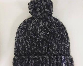 Chunky Knitted Beanie Hat + Pom Pom (100% Wool) - Black/Grey Mix Mono