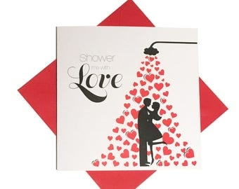 Valentine card, Fun shower me with love Valentine's Day card, boy and girl card
