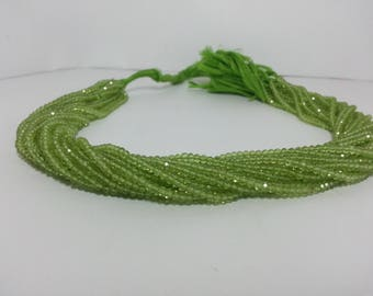 100% Natural AAA Peridot Faceted Rondelle Beads 2.5-3mm | Green Beads | Rondelle Beads | AAA Beads | Micro Faceted Beads