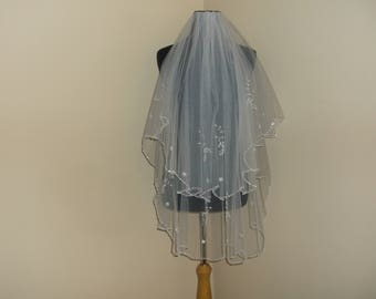 White 2 Tier Rhinestone/Pearl Wedding Veil