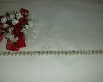 White Pearl/Rhinestone Beaded Trim