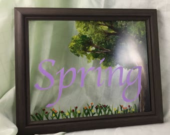 Reverse Spring painting on glass