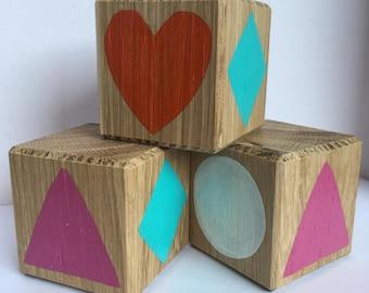 3 oak matching blocks // for toddlers // stacking blocks // personalised // building blocks // first blocks // nursery // homemade