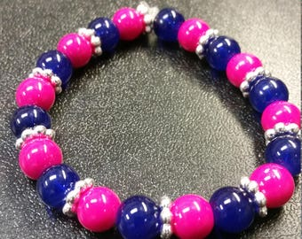 Hot pink & purple glass beaded bracelet