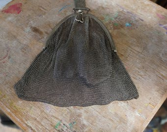 Large silver mesh purse