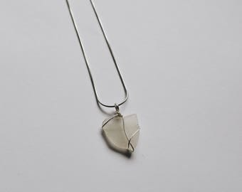 Hamptons Silver Wire Wrapped Beach Glass Necklace