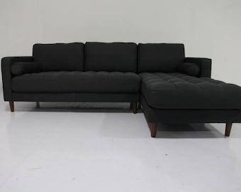 Retro Fabric Davenport Couch Sofa Vintage 60s 70s Danish