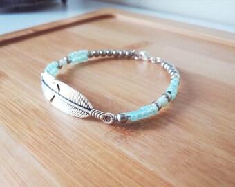 Boho beaded bracelet, boho jewelry, silver feather bracelet, Bohemian jewelry, Boho chic, feather charm bracelet, teal beads, silver beaded