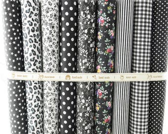 "50cmx50cm 9 Designs ""Black Set"" Fat Quarters Bundle Cotton Fabric for Sewing Tolda Scrapbooking Quilting Patchwork Doll"