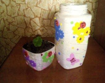 Vase and flower pot