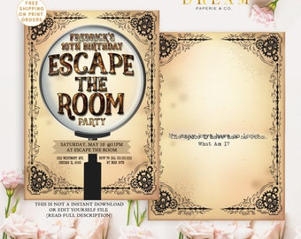 Escape room invitation escape room party printable invitation for Escape room party