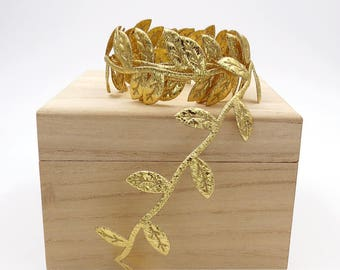 Gold Leaf Ribbon. Bridal. Gold Leaf Trim. Wedding. Gift Wrap. Hair Band Making. Metallic Trim