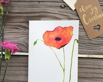 Watercolor poppy series card #3
