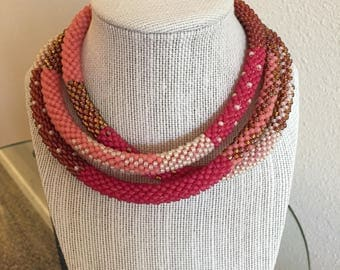 Pink bead crochet rope necklace
