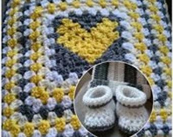 Handmade crochet baby blanket, hat, booties set