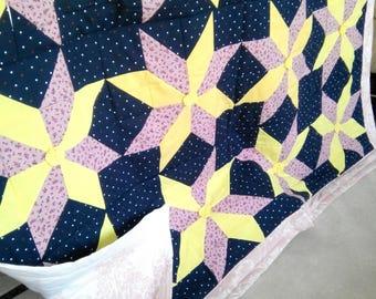 Handmade patchwork cotton blanket, handmade patchwork quilt throw, handmade kids bedspread, spring handmade blanket,