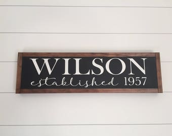 CUSTOM LAST NAME established wooden sign