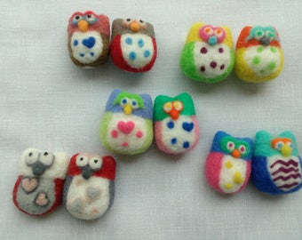 Colorful owls pair