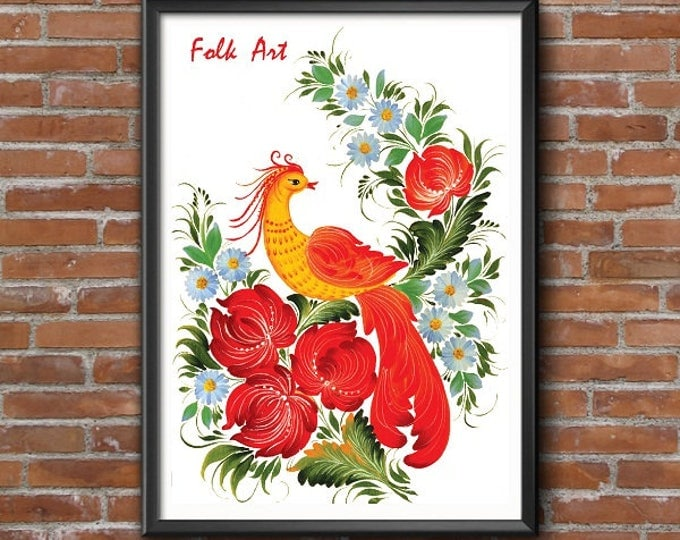 Printable gifts. Home decor. Wall Art Digital Print Folk Art The bird of happiness and good luck