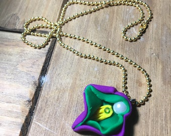 Purple, Green, and Yellow Vulva Necklace