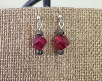 Red nugget and gray faceted glass bead earrings