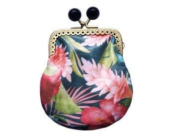 Clip purse / / tropical hibiscus