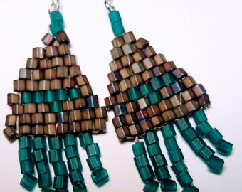 Hand woven fringed BoHo Southwest Style Earrings - Brilliant Gold w Translucent Teal Beads