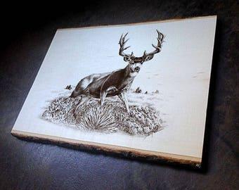 Mule Deer Wildlife Art Print on Wood with Bark Edges - Cabin Art Wall Decor