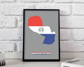 Paraguay art Country Map poster wall art wall decor print