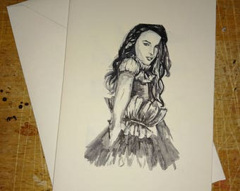 Fashion Greetings Cards, Ink Greetings Card, Ink Fashion Drawing, Fashion Woman Card, Blank Cards