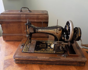 Antique Frister and Rossmann Hand Crank Sewing Machine with Original Case