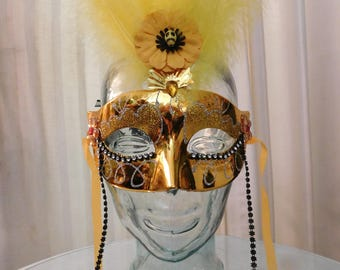 Gold and Yellow Feathered Mask