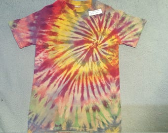 "tie dye t-shirt adult small""rasta spiral"""