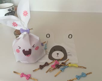 10 Bunny gift bags with tie ribbons, cute gift bags, birthday gift bags, funny gift bag, gift bag for Candy, Cookies, kids party supplies