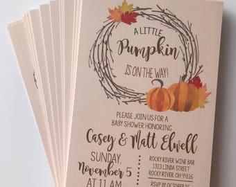 Fall baby shower invitation, autumn baby shower invitation, pumpkin baby invitation, halloween invitation, baby shower invitations