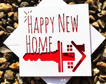 New Home Card, Home Sweet Home Card, Congratulations Card, Laser Cut, Greeting Card