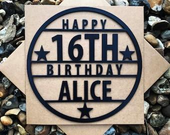 Personalised Happy 16th Birthday Card, Happy 16th, Birthday Card, Laser Cut, Personalised card, Sweet 16 Birthday card, Magnet Birthday Card