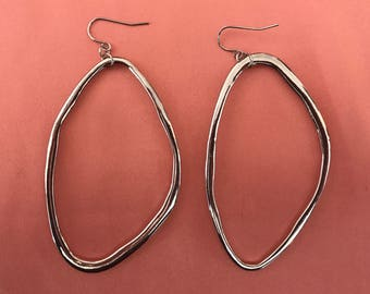 Silver Sculptural Oval Hoops