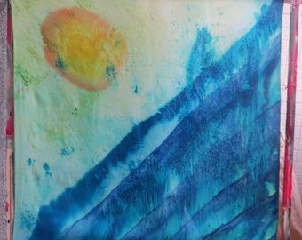 Hand painted silk scarf, turquoise, deep blue, yellow, orange, OOAK, original, tichel, headscarf, made in Israel