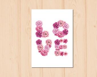 Love Letter Flower Watercolour Painting Drawing Art Print N184
