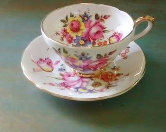 Floral Teacup and Saucer from Sutherland China