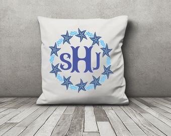 Starfish Monogram - Starfish Pillow - Decorative pillow - Beach theme - Beach House accent -  Host Gift - custom beach decor - gift idea