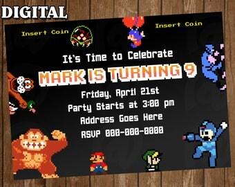 8Bit Retro Nintendo Digital Party Invitation Custom Personalized Printable birthday