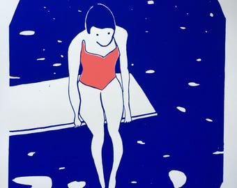 """Screen printed """"Bather"""" 2 color passages"""